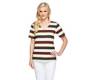 Denim & Co. Perfect Jersey Short Sleeve Multi-color Stripe Top - A254225