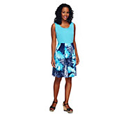 Susan Graver Liquid Knit Sleeveless Tank and Printed Skirt Set - A255725