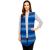 Denim & Co. Heavenly Jersey Heather Ombre Drape Front Vest - A256325
