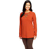 Susan Graver French Terry Long Sleeve Embellished Tunic - A257125