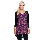 Lisa Rinna Collection 3/4 Sleeve High-Low Hem Knit Top - A258125