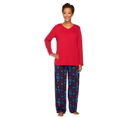 Stan Herman Women's Fleece and Interlock Pajama Set - A258525