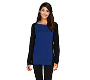 Susan Graver Plush Knit Unfinished Hem Colorblock Sweater - A258625