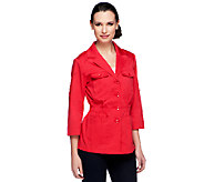As Is Joan Rivers Utility Jacket with 3/4 Roll Tab Sleeves - A260225