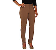 Women With Control Petite Zip Front Slim Leg Pants - A261825