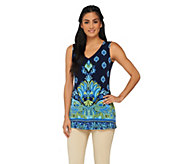 Susan Graver Border Printed Liquid Knit Sleeveless V-Neck Top - A261925