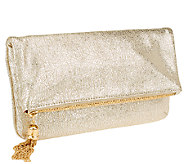 Isaac Mizrahi Live! Bridgehampton Metallic Leather Clutch - A262025