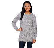 Isaac Mizrahi Live! 2-Ply Cashmere Cable Pullover Tunic Sweater - A267925
