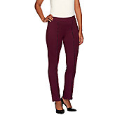 Susan Graver Weekend Cotton Spandex Leggings w/Faux Leather Piping - A268025