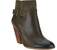 Sole Society Leather Stacked Heel Ankle Boots - Hollie - A268425