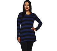 Susan Graver Striped Cotton Rayon Nylon Button Back Sweater - A269225