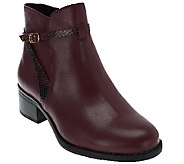 Isaac Mizrahi Live! Leather Ankle Boots with Strap Detail - A269925
