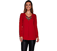 Susan Graver Artisan Liquid Knit V-neck Embellished Long Sleeve Top - A270325