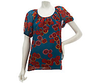 As Is GF by Geren Ford Floral Print Peasant Top - A272625