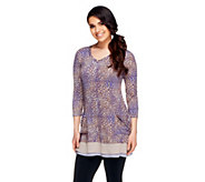 As Is LOGO by Lori Goldstein Printed Knit Top with Chiffon Trim - A273225