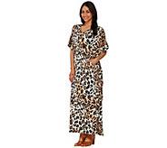 Joan Rivers Petite Length Leopard Print Caftan with Pockets - A274225
