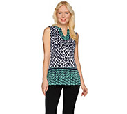Susan Graver Printed Liquid Knit Sleeveless V-neck Top - A276425