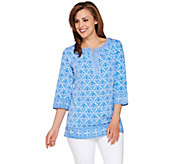 C. Wonder 3/4 Sleeve Printed Tunic with Embroidery - A277425