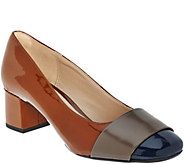 As Is Clarks Narrative Leather Block Heeled Pumps - Chinaberry Sky - A280525