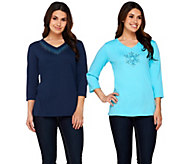 As Is Quacker Factory Ombre Sparkle Set of 2 3/4 Sleeve T-Shirts - A280925