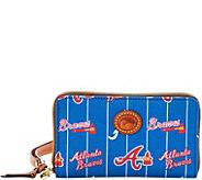Dooney & Bourke MLB Nylon Braves Zip Around Phone Wristlet - A281725