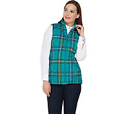 Denim & Co. Quilted Plaid Vest with Fleece Lining - A283625