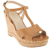 As Is Franco Sarto Leather T-strap Wedges - Swerve - A283825