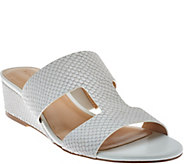As Is H by Halston Cut-out Leather Sandals with Mini Wedge - Regan - A286525