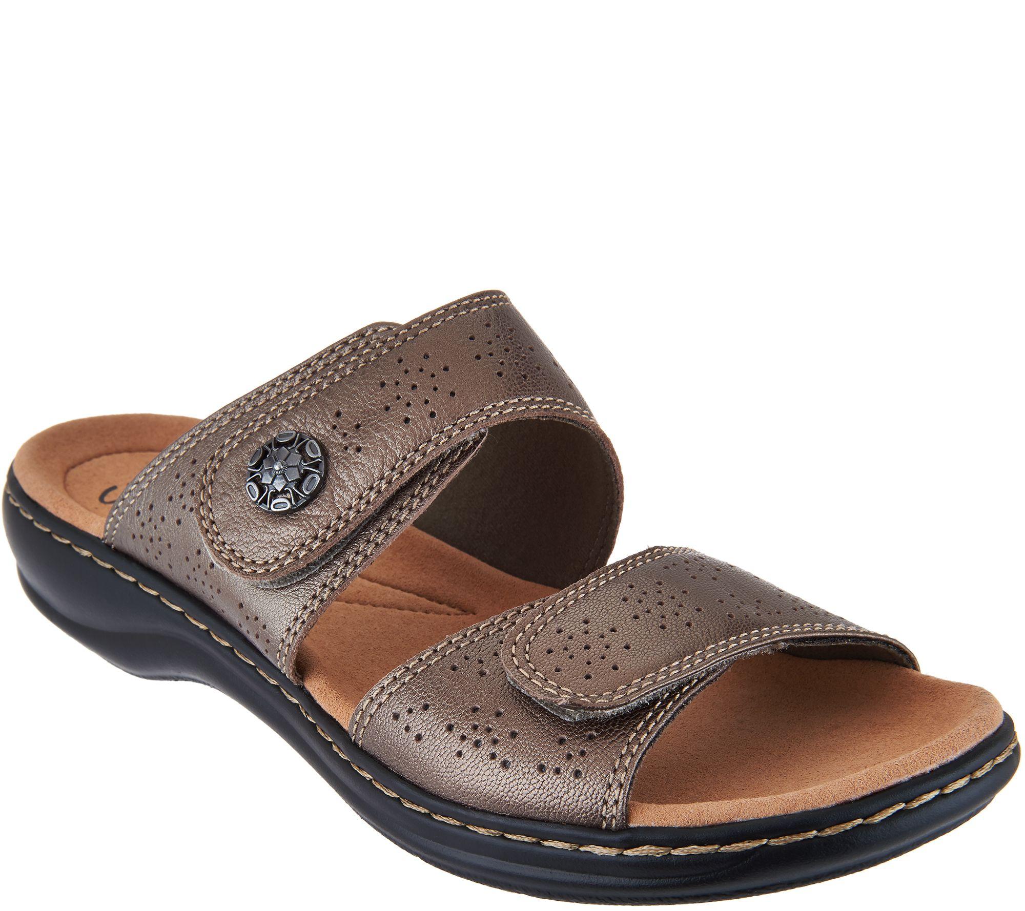 Clarks Leather Double Adjust Slide Sandals - Leisa Lacole - Page 1 — QVC.com