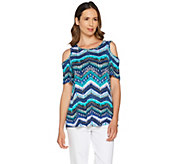 Denim & Co. Chevron Print Scoop Neck Cold Shoulder Top - A292325