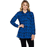 Susan Graver Printed Woven Button Front Long Sleeve Shirt - A293625