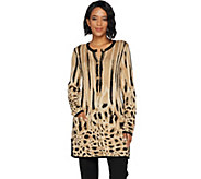 Isaac Mizrahi Live! Engineered Animal Jacquard Cardigan - A293925