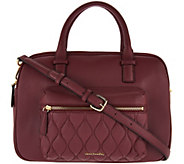 As Is Vera Bradley Quilted Leather Triple Compartment Satchel - A297725