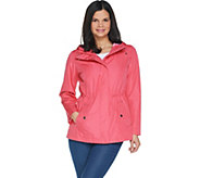 Susan Graver Zip Front Anorak Jacket with Striped Lining - A305125