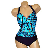 Carol Wior Underwater Sea Front Wrap One-PieceSwimsuit - A331225