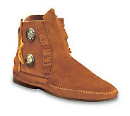 Minnetonka Suede Leather Fringed Ankle Boots - A141126