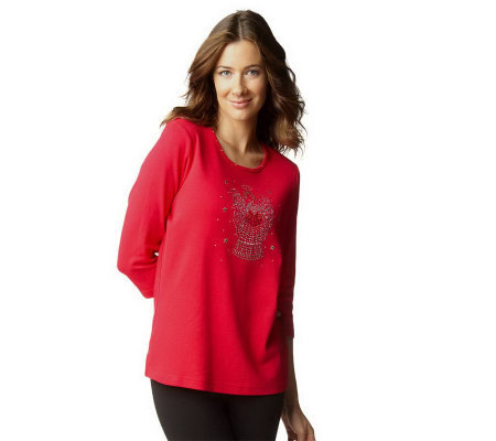 Quacker Factory Sparkly Holiday 3/4 Sleeve T-shirt