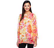 Susan Graver Printed Chiffon Bateau Neck Tunic with Trumpet Sleeves - A222426