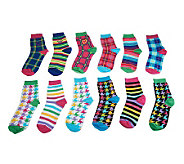 little missmatched 12-pack Plaid & Houndstooth Crew Sock - A228326