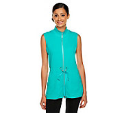 Susan Graver Weekend French Terry Zip Front Vest with Elastic Waist - A234326