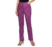 Susan Graver Paisley Print Stretch Fine Twill Pants - A236726