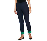 Women with Control Petite Pull-On Slim Leg Pants w/ Contrast Cuff - A241126