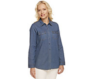 Denim & Co. Button Front Long Sleeve Denim Shirt - A251726