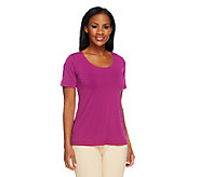Bob Mackies Jersey Knit Scoop Neck T-Shirt - A252326