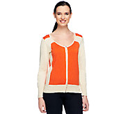 Styled by Joe Zee Color-Block Zip Front Cardigan - A252426
