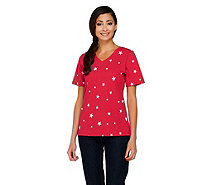 Denim & Co. Perfect Jersey V-neck Star Print Top - A254226