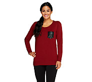 Susan Graver Crew Neck Sweater with Faux Leather Pocket - A258626