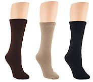 Passione Set of 3 Faux Fur Lined Crew Socks - A258726