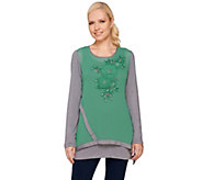 LOGO Lavish by Lori Goldstein Embellished Chiffon Top with Tank Set - A261126