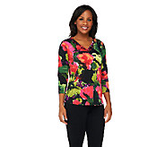 Susan Graver Printed Liquid Knit Embellished V-Neck Top - A261926
